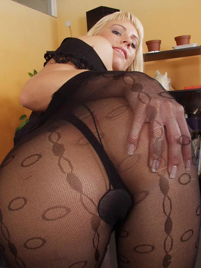 Dirty girl in a pantyhose fuck